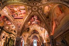 The Duomo, cathedral of Amalfi, campania, Italy. A view in AMALFI, ITALY  MAY 11, 2014 : Interiors and details of the Duomo, cathedral of Amalfi, built year 1208 royalty free stock image