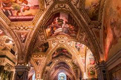 The Duomo, cathedral of Amalfi, campania, Italy. A view in AMALFI, ITALY  MAY 11, 2014 : Interiors and details of the Duomo, cathedral of Amalfi, built year 1208 stock photos
