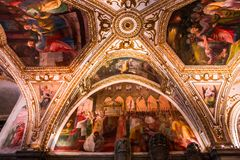 The Duomo, cathedral of Amalfi, campania, Italy. A view in AMALFI, ITALY  MAY 11, 2014 : Interiors and details of the Duomo, cathedral of Amalfi, built year 1208 stock image
