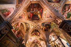 The Duomo, cathedral of Amalfi, campania, Italy. A view in AMALFI, ITALY  MAY 11, 2014 : Interiors and details of the Duomo, cathedral of Amalfi, built year 1208 royalty free stock photography