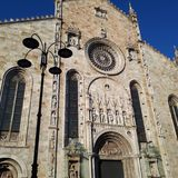 Duomo (Cathedral), building, sky, facade, ancient history. Duomo (Cathedral) is building, ancient history and monastery. That marvel has sky, tank, army tank royalty free stock photos