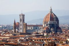 Duomo, Cathedral of Florence. Cathedral of Florence and cityscape view Stock Photography