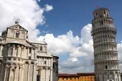 Duomo Cathedral and Leaning tower in Pisa Royalty Free Stock Photo