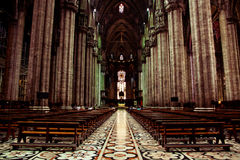 Duomo Cathedral in Milan, Inside View Royalty Free Stock Images