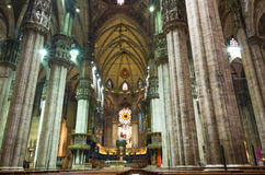 Duomo cathedral,Milan.Inside view. Inside view of duomo cathedral in milan,one the best gothic church in the world stock image