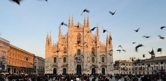 Duomo Cathedral Square in Milan Italy Stock Images