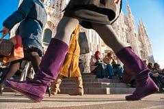 Duomo de la plaza el 11 de diciembre de 2009 en Milano, Italia. Imagen de archivo libre de regalías