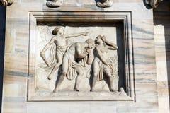 Duomo della cattedrale di Milano, cupola, espellente dal paradiso Fotografia Stock