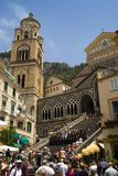 Duomo di Amalfi and the piazza in Amalfi, a town in the province of Salerno, in the region of Campania, Italy, on the Gulf of Sale Stock Image