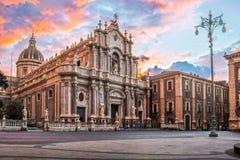 Duomo di Catania, HDR. Cathedral of Catania at dawn in HDR stock photo