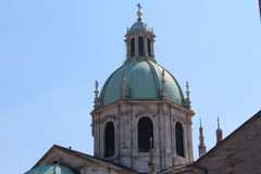 Duomo di Como, Main structure. On a very bright day during mid August, close-up on the main Cuppola of the main Cathedral of the city Como in Italy Stock Photo