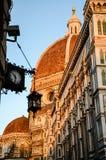 Duomo di Firenze, dell'orologio e della lampada a sospensione Fotografia Stock