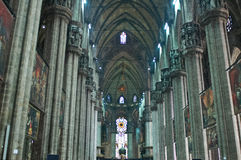 Duomo Di Milano. Or the Milan Cathedral seen from the inside Royalty Free Stock Images