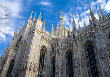 Duomo di Milano. The Duomo, Milan's cathedral, is one of the largest churches in the world; is a surprisingly elegant mass of marble boasting 135 spires and 3 Royalty Free Stock Images