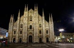 Duomo di Milano di notte Fotografie Stock Libere da Diritti