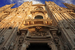 Duomo di Milano, Facade frontal below view Stock Photos