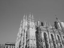 Duomo meaning Cathedral in Milan, black and white Royalty Free Stock Image