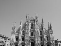 Duomo (meaning Cathedral) in Milan, black and white Royalty Free Stock Image