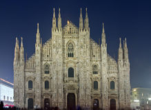 Duomo di Milano night view. Front night view of Duomo di Milano Stock Photography