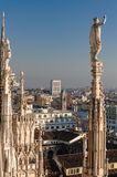 Duomo di Milano. Panoramic view of Milan City from the Duomo Royalty Free Stock Photography