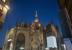 Duomo di Milano rear view. Night rear view of Duomo di Milano Royalty Free Stock Image