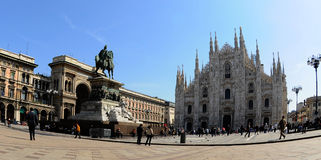 Duomo di Milano from the Square. Milan Cathedral (Italian: Duomo di Milano; Milanese: Domm de Milan) is the cathedral church of Milan in Lombardy Royalty Free Stock Photo