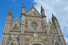 Duomo di Orvieto in Umbria. Upper part of the famous Orvieto gothic cathedral Royalty Free Stock Photo