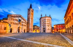 Duomo di Parma, Parma, Italy. Parma, Italy - Piazza del Duomo with the Cathedral and Baptistery, built in 1059. Romanesque architecture in Emilia-Romagna Royalty Free Stock Images