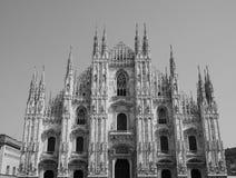 Duomo die (Kathedraal betekenen) in zwart-wit Milaan, royalty-vrije stock foto's