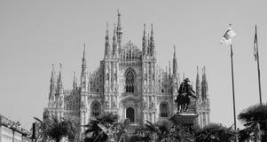 Duomo die (Kathedraal betekenen) in zwart-wit Milaan, royalty-vrije stock foto