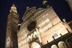Duomo et torrazzo la nuit, Crémone, Italie Image libre de droits