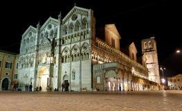 Duomo of Ferrara at night, unesco world heritage Royalty Free Stock Image