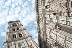 Duomo firence and giotto campanile. Giotto's Campanile is a free-standing campanile that is part of the complex of buildings that make up Florence Cathedral on Royalty Free Stock Photos