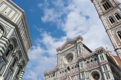 Duomo Firence Voorgevel en campanile van Duomo en prachtig royalty-vrije stock foto's