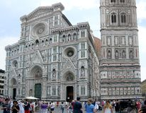 Duomo of Florence. Facade of Duomo, Cathedral of Florence, Italy with tourist is front of the church stock images