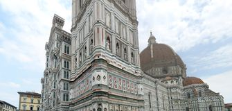 Duomo of Florence. Panoramam offFacade of Duomo, Cathedral of Florence, Italy royalty free stock photo