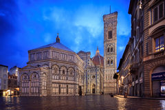 Duomo of Florence. Twilight of piazza Duomo di Firenze, Italy stock images