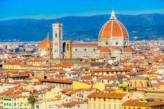 Duomo and Giotto`s Campanile, Florence, Italy. Cathedral of Santa Maria del Fiore at dusk, Florence, Italy stock photography