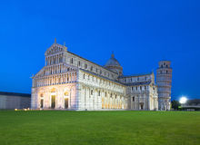 The Duomo and Leaning Tower of Pisa at dusk Stock Images