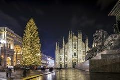 Duomo in Milaan met zijn langste Kerstboom ooit 's nachts royalty-vrije stock foto's