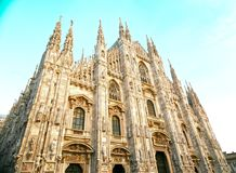 Duomo of Milan with blue sky Royalty Free Stock Images