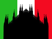 Duomo Milan with flag Stock Photography
