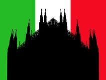 Duomo Milan with flag. Duomo Milan against Italian flag illustration Stock Photography