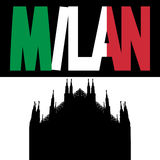 Duomo with Milan flag text Stock Photo