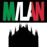 Duomo with Milan flag text royalty free illustration