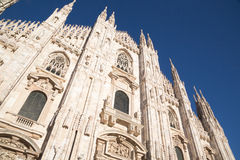 Duomo of Milan front face from below Royalty Free Stock Photography