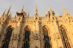 Duomo of Milan. Gothic architecture of the duomo of Milan - Italy stock images