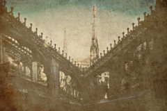 Duomo Milan Italy old postcard Royalty Free Stock Photos