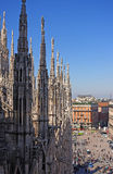 Duomo in Milan, Italy. View of the Cathedral Square from above. Royalty Free Stock Image