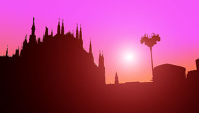 Duomo of Milan silhouette Royalty Free Stock Photo